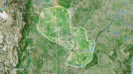 Photo pour Paraguay sur la carte satellite D dans la projection stéréographique - composition principale - image libre de droit