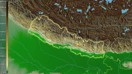 Photo for Physical map within the Nepal area in the stereographic projection with legend - raw composition of raster layers with light glowing outline - Royalty Free Image