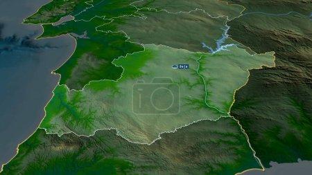 Photo pour Beja - quartier du Portugal zoomé et mis en évidence avec la capitale. Principales caractéristiques physiques du paysage. rendu 3D - image libre de droit