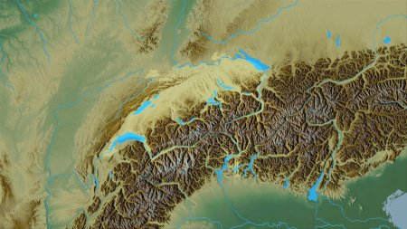 Photo for Switzerland area on the topographic relief map in the stereographic projection - raw composition of raster layers - Royalty Free Image