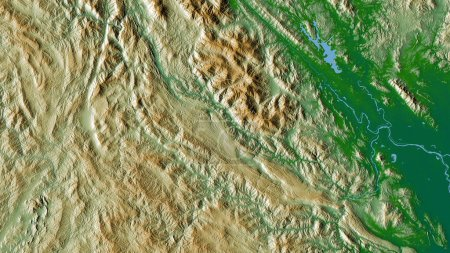 Photo for Son La, province of Vietnam. Colored shader data with lakes and rivers. Shape outlined against its country area. 3D rendering - Royalty Free Image