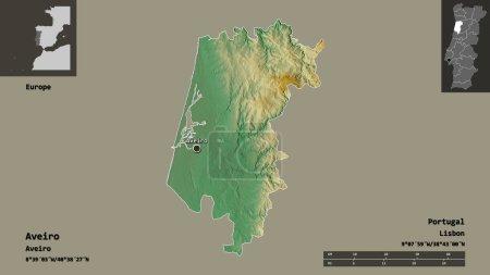 Photo pour Forme de Aveiro, district du Portugal, et sa capitale. Échelle de distance, aperçus et étiquettes. Carte topographique de relief. rendu 3D - image libre de droit