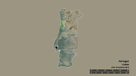 Photo pour Forme désaturée du Portugal avec sa capitale, sa principale division régionale et la région séparée d'Aveiro. Des étiquettes. Carte topographique de relief. rendu 3D - image libre de droit