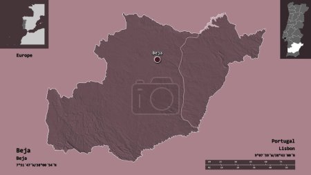 Photo pour Forme de Beja, district du Portugal, et sa capitale. Échelle de distance, aperçus et étiquettes. Carte d'altitude colorée. rendu 3D - image libre de droit
