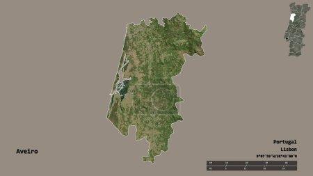Photo pour Forme d'Aveiro, district du Portugal, avec sa capitale isolée sur un fond solide. Échelle de distance, aperçu de la région et étiquettes. Imagerie satellite. rendu 3D - image libre de droit