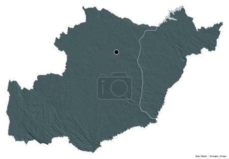 Photo pour Forme de Beja, district du Portugal, avec sa capitale isolée sur fond blanc. Carte d'altitude colorée. rendu 3D - image libre de droit