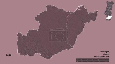 Photo pour Forme de Beja, district du Portugal, avec sa capitale isolée sur un fond solide. Échelle de distance, aperçu de la région et étiquettes. Carte d'altitude colorée. rendu 3D - image libre de droit