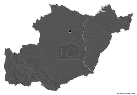 Photo pour Forme de Beja, district du Portugal, avec sa capitale isolée sur fond blanc. Carte de l'altitude de Bilevel. rendu 3D - image libre de droit