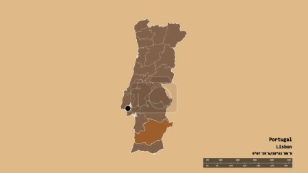Photo pour Forme désaturée du Portugal avec sa capitale, sa principale division régionale et la région séparée de Beja. Des étiquettes. Composition de textures régulièrement modelées. rendu 3D - image libre de droit