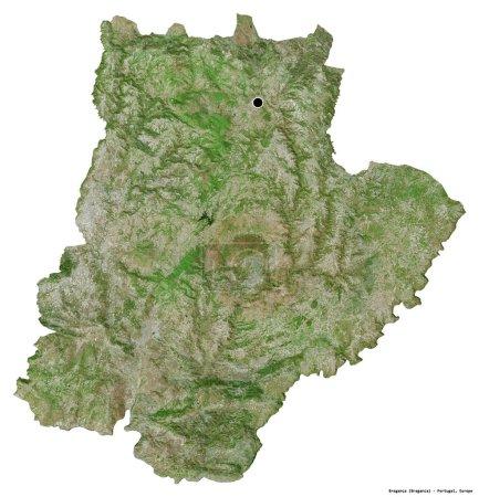 Photo pour Forme de Braganca, district du Portugal, avec sa capitale isolée sur fond blanc. Imagerie satellite. rendu 3D - image libre de droit