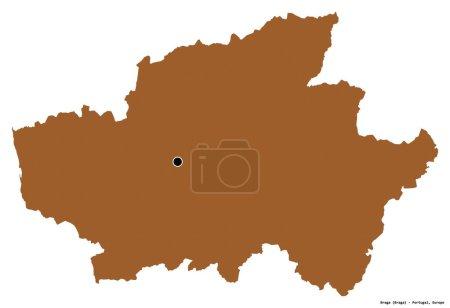 Photo pour Forme de Braga, district du Portugal, avec sa capitale isolée sur fond blanc. Composition des textures à motifs. rendu 3D - image libre de droit