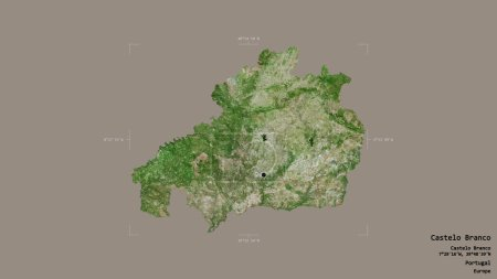 Photo pour Région de Castelo Branco, district du Portugal, isolée sur un fond solide dans une zone délimitée géoréférencée. Des étiquettes. Imagerie satellite. rendu 3D - image libre de droit