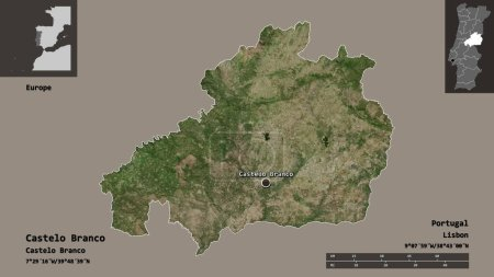 Photo pour Forme de Castelo Branco, district du Portugal, et sa capitale. Échelle de distance, aperçus et étiquettes. Imagerie satellite. rendu 3D - image libre de droit