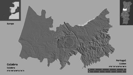Photo pour Forme de Coimbra, district du Portugal, et sa capitale. Échelle de distance, aperçus et étiquettes. Carte de l'altitude de Bilevel. rendu 3D - image libre de droit