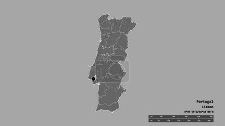 Photo pour Forme désaturée du Portugal avec sa capitale, sa principale division régionale et la zone séparée de Coimbra. Des étiquettes. Carte de l'altitude de Bilevel. rendu 3D - image libre de droit