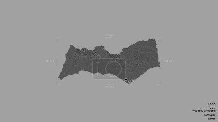 Photo pour Zone de Faro, district du Portugal, isolée sur un fond solide dans une zone délimitée géoréférencée. Des étiquettes. Carte de l'altitude de Bilevel. rendu 3D - image libre de droit
