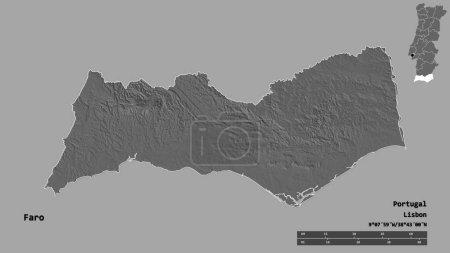 Photo pour Forme de Faro, district du Portugal, avec sa capitale isolée sur un fond solide. Échelle de distance, aperçu de la région et étiquettes. Carte de l'altitude de Bilevel. rendu 3D - image libre de droit
