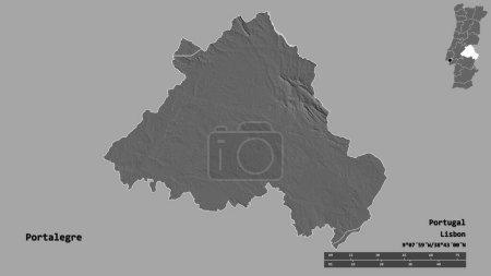 Photo pour Forme de Portalegre, district du Portugal, avec sa capitale isolée sur un fond solide. Échelle de distance, aperçu de la région et étiquettes. Carte de l'altitude de Bilevel. rendu 3D - image libre de droit