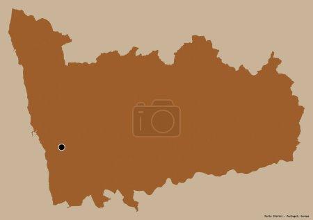 Photo pour Forme de Porto, district du Portugal, avec sa capitale isolée sur un fond de couleur unie. Composition des textures à motifs. rendu 3D - image libre de droit