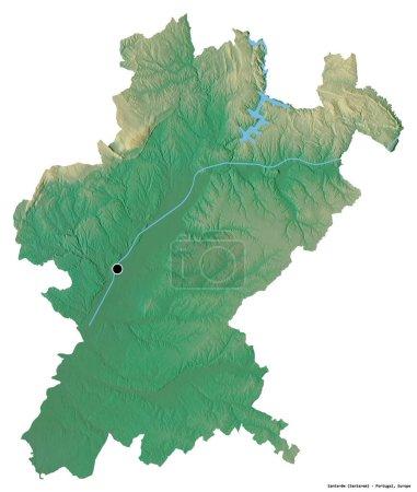 Photo pour Forme de Santarem, district du Portugal, avec sa capitale isolée sur fond blanc. Carte topographique de relief. rendu 3D - image libre de droit