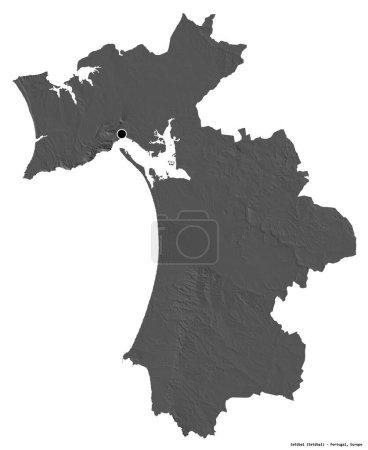 Photo pour Forme de Setubal, district du Portugal, avec sa capitale isolée sur fond blanc. Carte de l'altitude de Bilevel. rendu 3D - image libre de droit