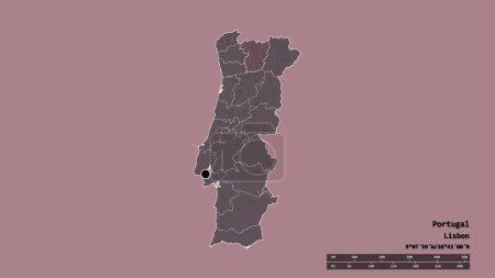 Photo pour Forme désaturée du Portugal avec sa capitale, sa principale division régionale et la zone séparée de Vila Real. Des étiquettes. Carte d'altitude colorée. rendu 3D - image libre de droit