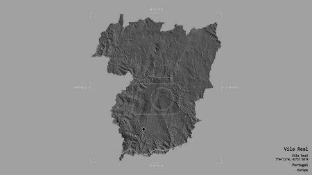 Photo pour Zone de Vila Real, district du Portugal, isolée sur un fond solide dans une zone délimitée géoréférencée. Des étiquettes. Carte de l'altitude de Bilevel. rendu 3D - image libre de droit