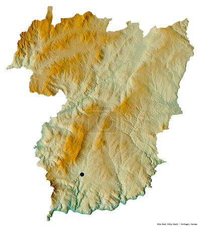 Photo pour Forme de Vila Real, district du Portugal, avec sa capitale isolée sur fond blanc. Carte topographique de relief. rendu 3D - image libre de droit