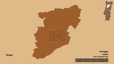 Photo pour Forme de Viseu, district du Portugal, avec sa capitale isolée sur un fond solide. Échelle de distance, aperçu de la région et étiquettes. Composition de textures régulièrement modelées. rendu 3D - image libre de droit