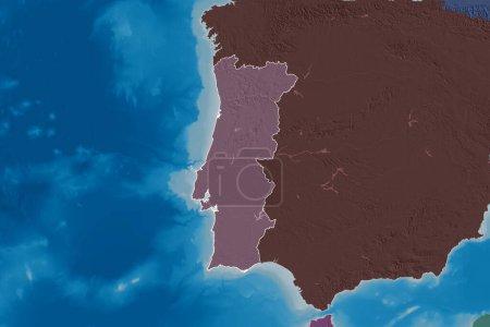 Photo pour Superficie étendue du Portugal décrit. Carte d'altitude colorée. rendu 3D - image libre de droit