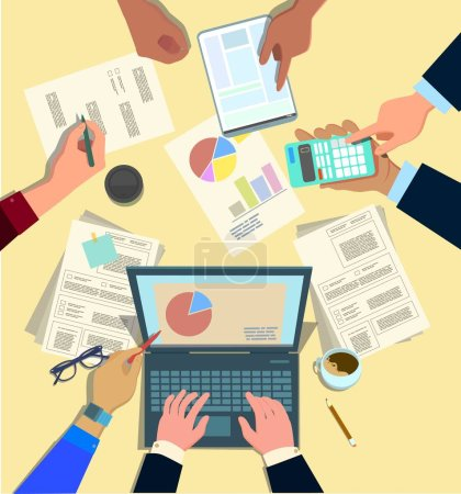 Illustration for Concept design of business teamwork, meeting and planning people sitting at the office table, top view. Marketing, hr, accounting department collaboration. Vector illustration in cartoon style - Royalty Free Image