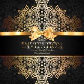 Gorgeous and shiny invitation card or banner with gold ribbon bow and place for text on black background with delicate lacy pattern