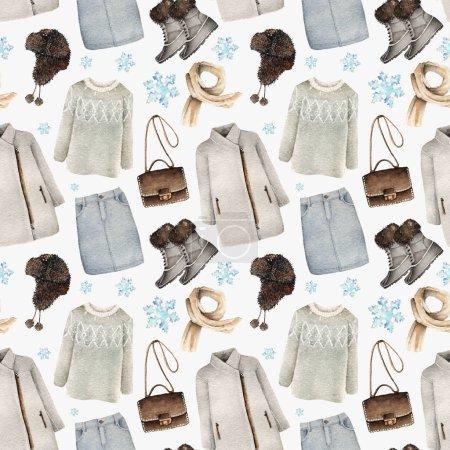 Photo pour Illustration de mode aquarelle. ensemble d'accessoires tendance. Des vêtements d'hiver. manteau, pull, jupe, sac, écharpe, bottes, chapeau, motif sans couture, fond clair - image libre de droit