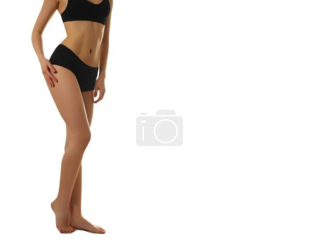 Photo for Beautiful Woman Body In Shape. Healthy Girl With Fit Slim Body, Soft Skin. Flawless woman in on grey background. Photo of girl with slim toned body. Beauty and body care concept - Royalty Free Image