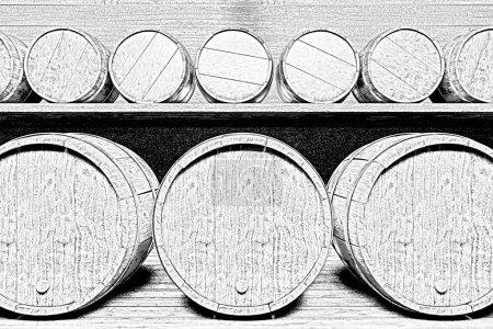 Photo pour Des rangées de petits et grands tonneaux sur des étagères en bois ont mis en évidence une lampe . - image libre de droit