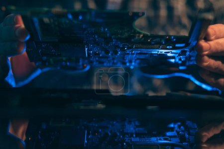 Photo for Computer hardware engineering. technology science concept. developer holding electronic component - Royalty Free Image