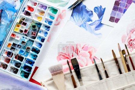 painting art creation watercolor palette brush