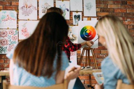 Photo pour Leçons de peinture et cours d'art. apprendre à dessiner. amélioration des compétences et maîtrise technique de l'aquarelle. communication avec les enseignants et étudiants . - image libre de droit