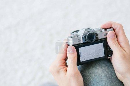 photography art hobby leisure man camera screen