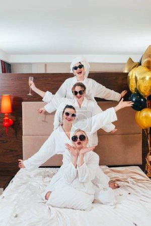 bachelorette party fun balloons women bathrobes
