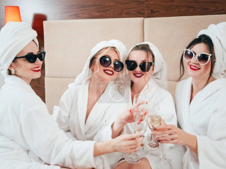 Spa leisure time. BFF relaxation. Sunglasses, bath...