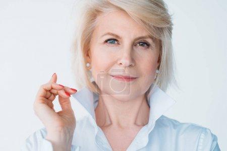aged lady confidence elegance stylish index finger
