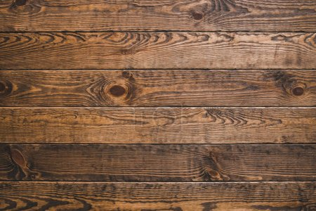 Photo for Brown timber wood. Rustic abstract background. Natural oak surface. Horizontal planks. Empty space. - Royalty Free Image
