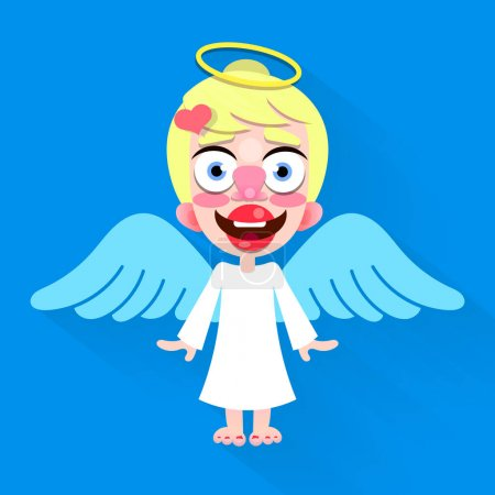 Beautiful cute little angel with a smile on his fa...