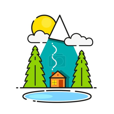 Illustration for Log Cabin In The Woods Vector Icon Ready For Your Design, Greeting Card, Banner - Royalty Free Image