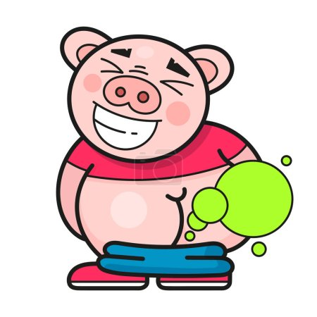 Illustration for Funny Pig Laughs At A Good Joke Vector Illustration - Royalty Free Image