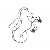 Hippocampus Heraldic animal linear style Sea horse with fishtail Fantastic Beast Monster for coat of arms Heraldry design element
