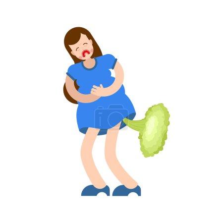 Woman fart sick stomach. female farting. Digestive Disease