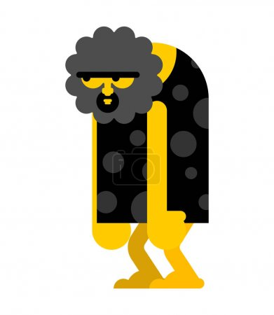 Illustration for Caveman stupid isolated. Prehistoric man blunt. Ancient man think - Royalty Free Image