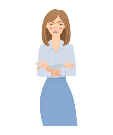 Photo for Business woman isolated. Business pose and gesture. Young businesswoman vector illustration. Crossed arms - Royalty Free Image